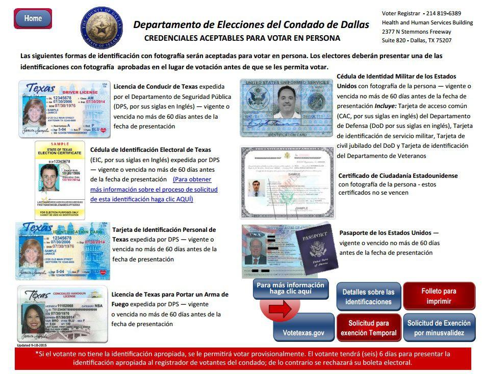 Lista de credenciales aprobadas por el Departamento de Elecciones del condado de Dallas. (DALLASCOUNTYVOTES.ORG/FOTO DE PANTALLA)