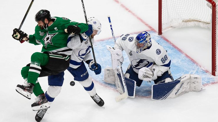 FILE - Stars forward Jamie Benn (14) looks for a shot on Lightning goaltender Andrei Vasilevskiy (88) during Game 4 of the Stanley Cup Final at Rogers Place in Edmonton, Alberta, Canada on Friday, Sept. 25, 2020.