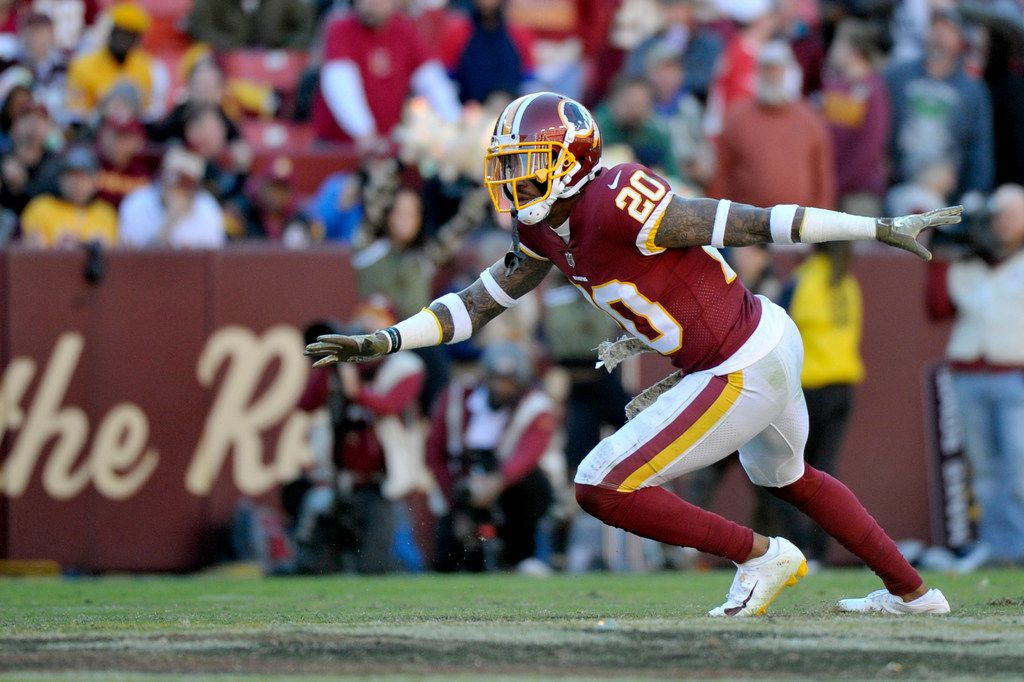 Washington Redskins free safety Ha Ha Clinton-Dix breaks on the ball during an NFL football game against the Atlanta Falcons, Sunday, Nov. 4, 2018, in Landover, Md. (AP Photo/Mark Tenally)