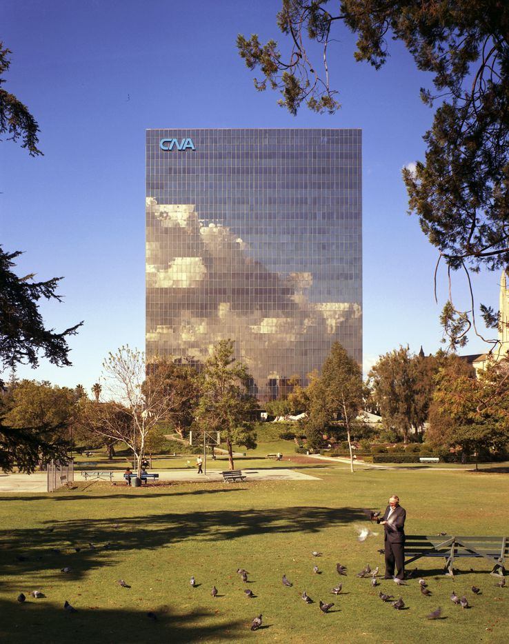 This almost surreal image of the 1971 CNA Tower in Los Angeles might be Wayne Thom's most famous photograph, as buoyant a sense of that city as a Magic Johnson fast break or Randy Newman singing its praises.
