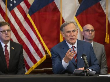 Lt. Gov. Dan Patrick (left) will lead a six-person Texas delegation to attend in person the Republican National Convention in Charlotte, N.C., later this month. Gov. Greg Abbott (center), shown at a May 18 news conference on COVID19 at the Texas Capitol, says he needs to stay home to tend state residents' health and safety during the pandemic.