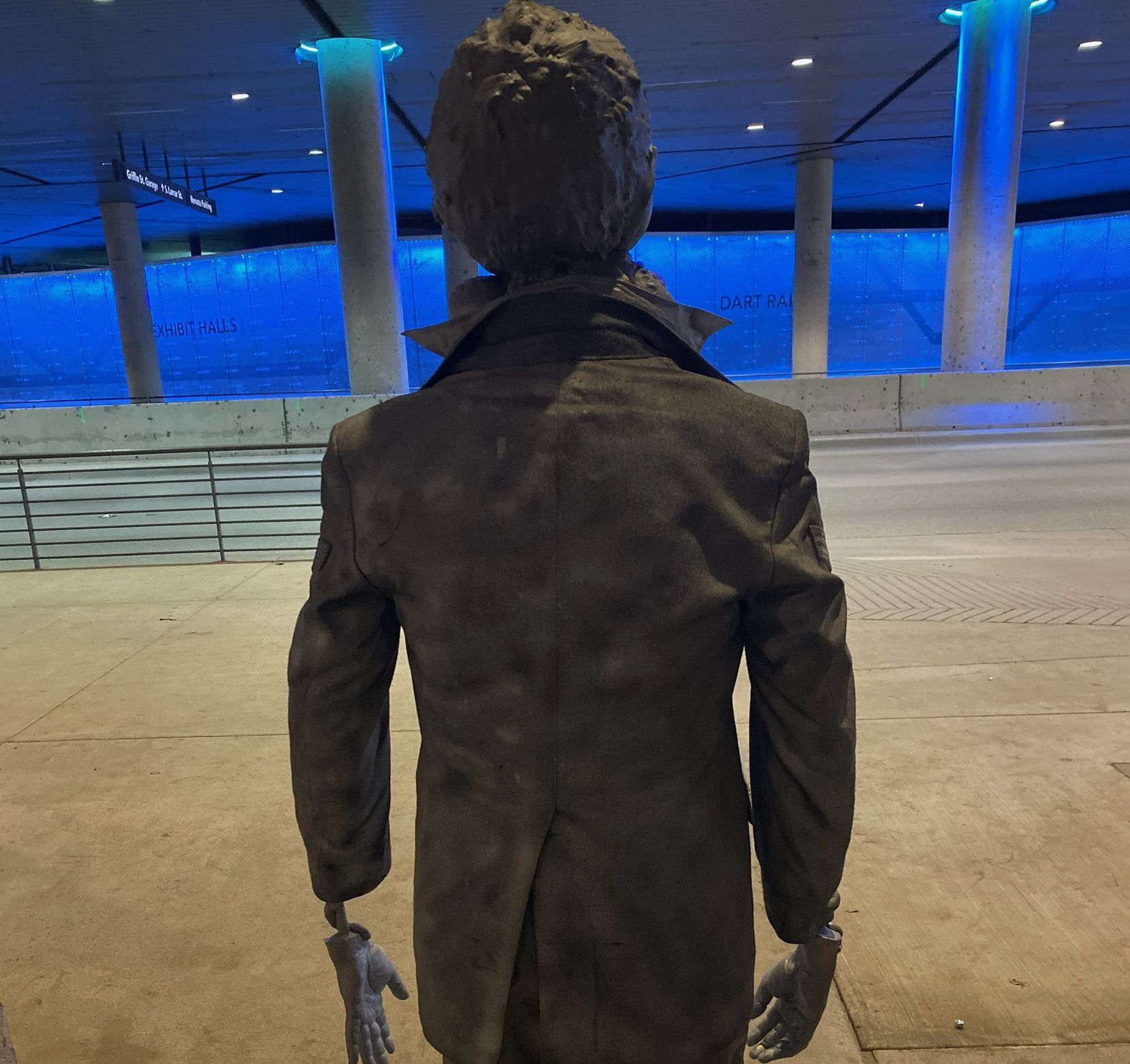 A mysterious sculpture appeared briefly in the DART station beneath the Kay Bailey Hutchison Convention Center in Dallas, before being removed by the city.