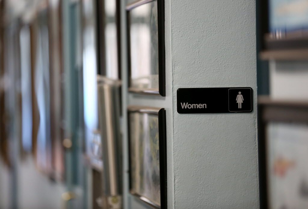 The entrance to a women's restroom at the lone school in Harrold ISD. The district was part of a lawsuit, including Texas and 10 other states, that sued the Obama administration over a federal directive regarding public school bathroom use for transgender students.