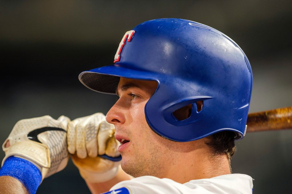 Texas Rangers infielder Nick Solak prepares to hit during the seventh inning against the Tampa Bay Rays at Globe Life Park on Wednesday, Sept. 11, 2019, in Arlington. (Smiley N. Pool/The Dallas Morning News)