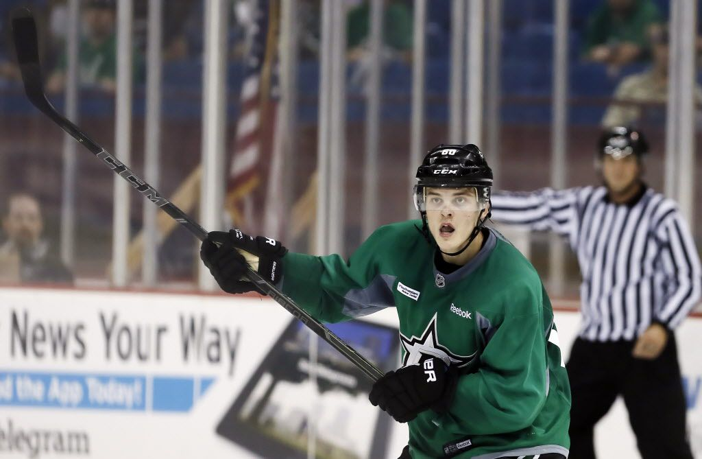 Dallas Stars defenseman Julius Honka calls for the puck during an intra-squad scrimmage hockey game at the Fort Worth Convention Center, Sunday, September 21, 2014. (Brandon Wade/Special Contributor)