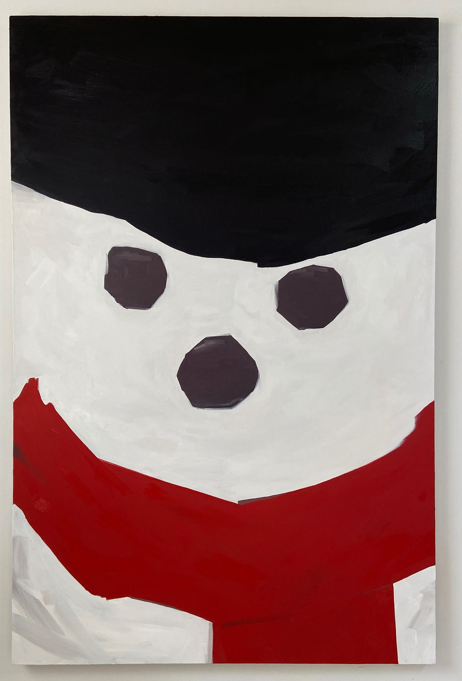 "David Flaugher's ""Untitled (Red Scarf)"" is one of three snowman paintings in the exhibition, and all are best viewed in person."