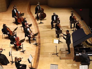 Guest conductor Roderick Cox leads the Dallas Symphony Orchestra, with pianist Behzod Abduraimov, in a concert at the Meyerson Symphony Center in Dallas, Thursday, October 22, 2020. They were performing Beethoven's Concerto No. 3 for Piano and Orchestra in C minor, Op. 37.