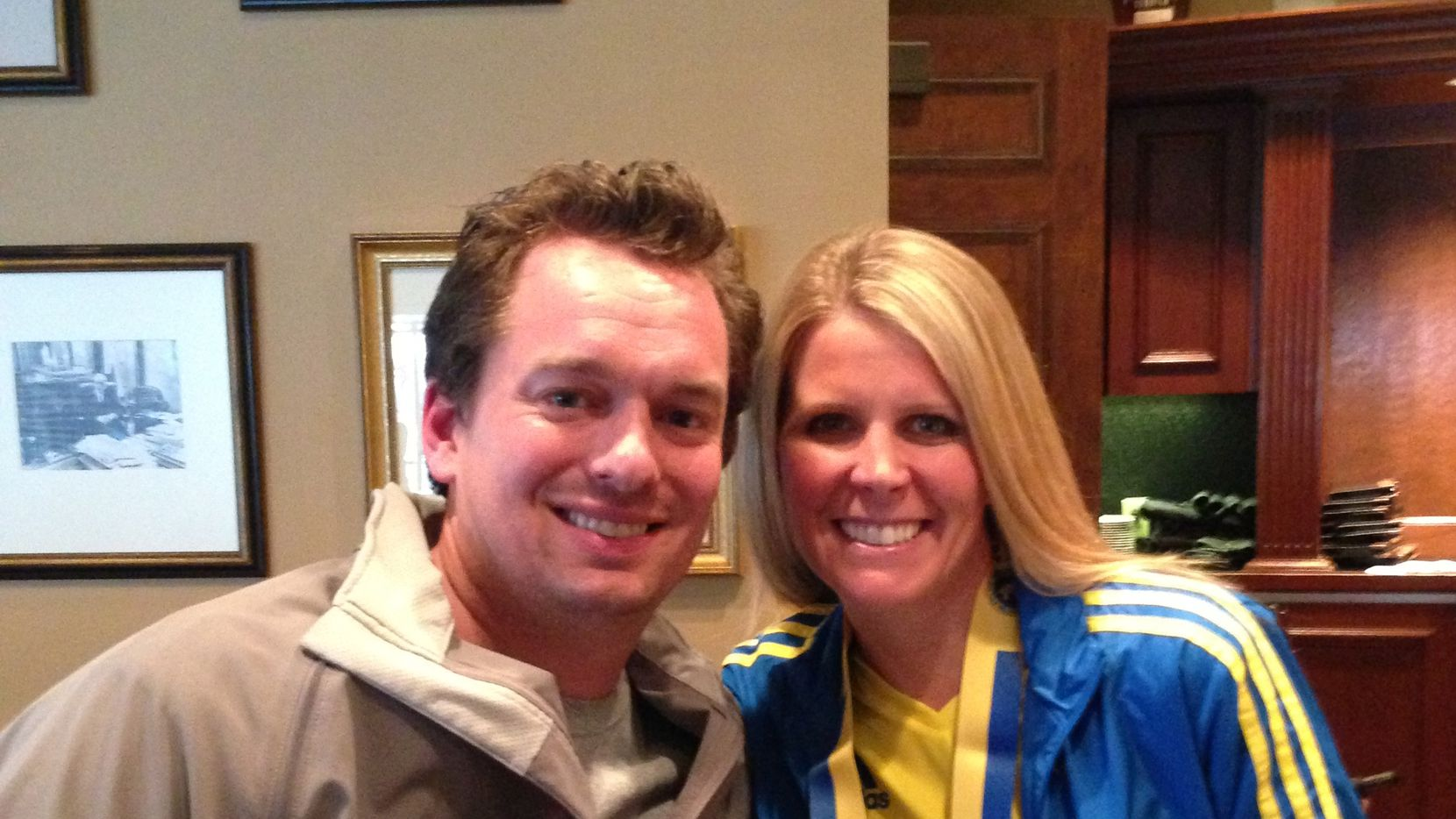 Paul Simon, the Texas Big Star race director, with his wife, Julie, who dreamed of bringing an endurance event to Frisco, pictured here at the Omni Parker House from their 2013 Boston Marathon race trip. Julie will be running the 2017 Boston Marathon two days after the Texas Star Half and 5K.