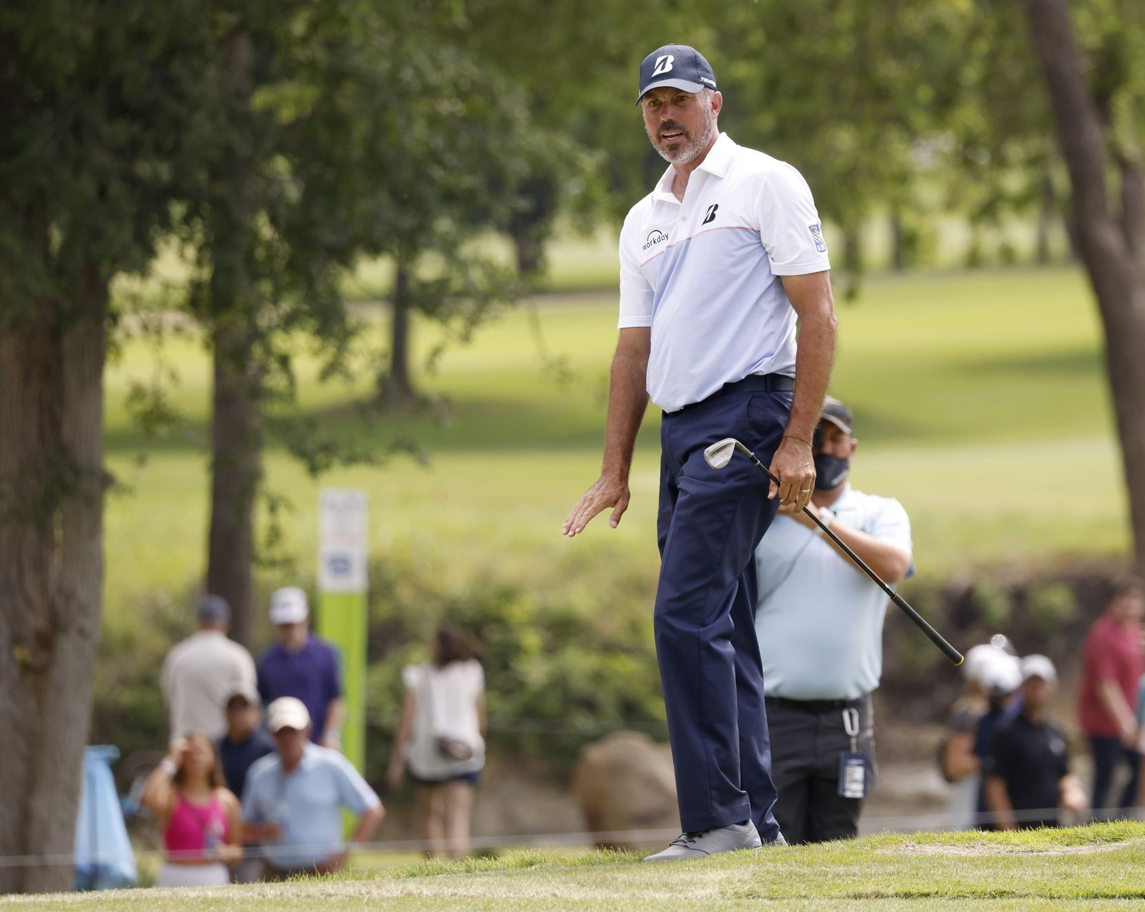 Matt Kuchar reacts as he watches his ball on the 14th hole during round 3 of the AT&T Byron Nelson  at TPC Craig Ranch on Saturday, May 15, 2021 in McKinney, Texas. (Vernon Bryant/The Dallas Morning News)