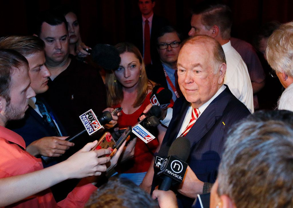 University of Oklahoma President David Boren, a former Democratic governor and U.S. Senator, talks with the media following his announcement that he will resign as head of the state's flagship university at the end of the current school year, at a news conference in Norman, Okla., Wednesday, Sept. 20, 2017. (AP Photo/Sue Ogrocki)