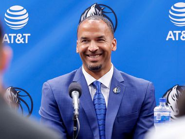 Dallas Mavericks new general manager Nico Harrison responds to questions from the media during his formal introduction at the American Airlines Center, Thursday, July 15, 2021.