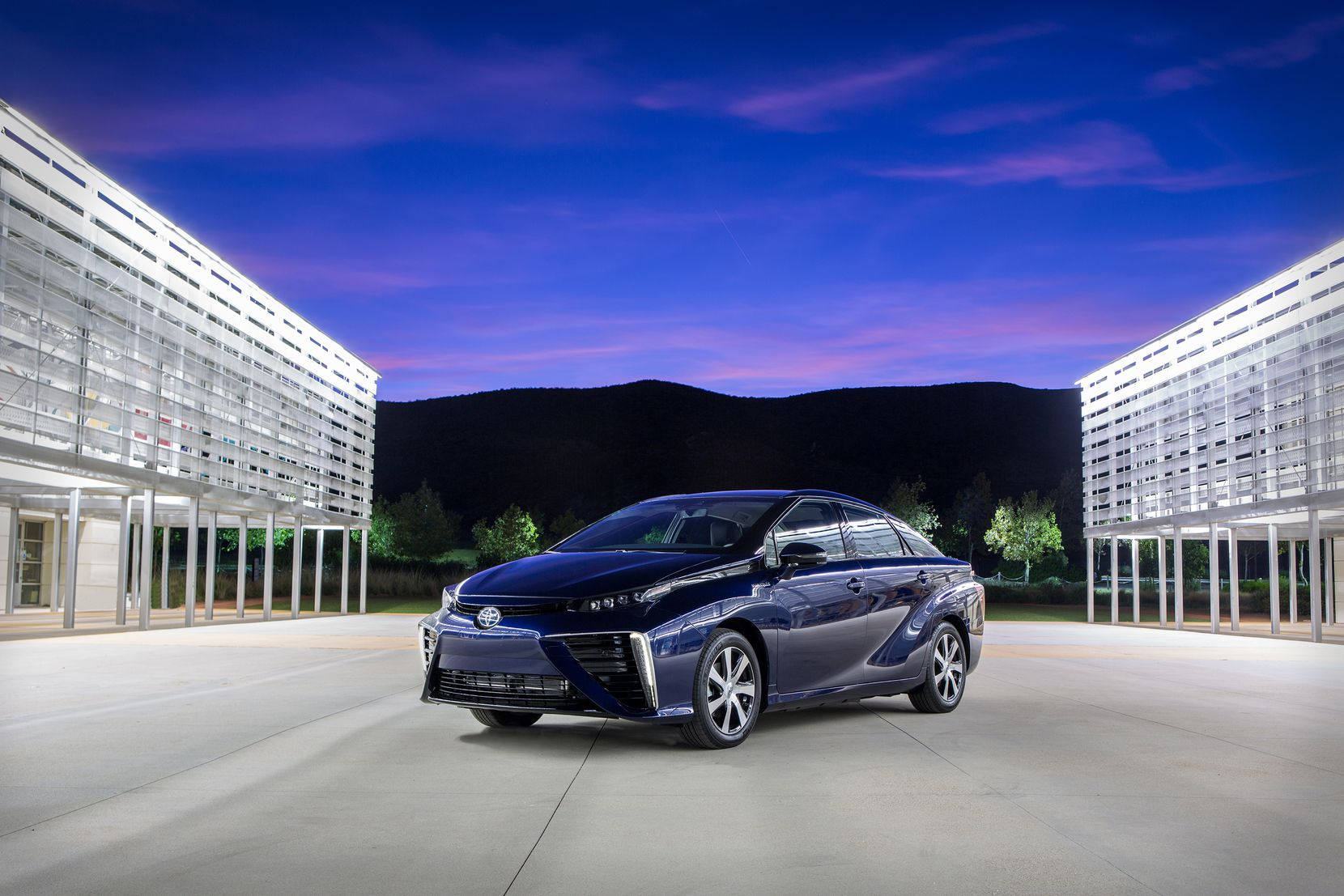 The fuel cell-powered Toyota Mirai has an estimated driving range of 312 miles.