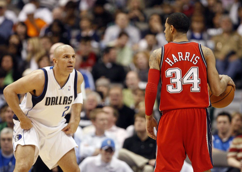 Dallas Mavericks guard Jason Kidd (2) guards New Jersey Nets guard Devin Harris (34) during the first half of their NBA Basketball game at American Airlines Center in Dallas, Texas on March 10, 2010. (Michael Ainsworth/The Dallas Morning News)