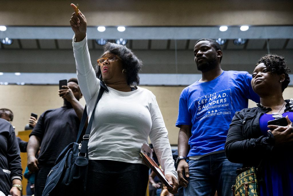 "Olinka Green attended Wednesday's Dallas City Council meeting where protesters chanted ""€œNo Justice, no peace."""