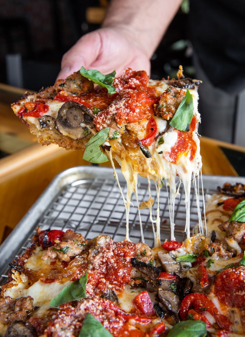 Detroit-style pizza joint Thunderbird Pies will open its first standalone restaurant in East Dallas in 2021, after operating as a pop-up. Here's the Drip Pan, which comes with hot soppressata sausage, mushrooms and caramelized onions and peppers.