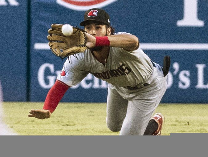 Hickory Crawdad's center fielder Jonathan Ornelas (3) makes a catch during the game with the Greensboro Grasshopper's at First National Bank Field on Friday, August 6, 2021 in Greensboro, N.C. (Woody Marshall/Special Contributor)
