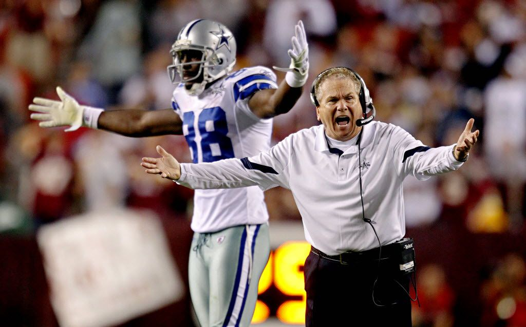 Dallas Cowboys secondary coach Dave Campo (right) and wide receiver Dez Bryant react to a call against the Cowboys during the second half of a 13-7 loss to the Washington Redskins Sunday, September 12, 2010 at FedExField in Landover, Md. (G.J. McCarthy/The Dallas Morning News) 09292010xSPORTS 11022010xSPORTS 09142012xSPORTS
