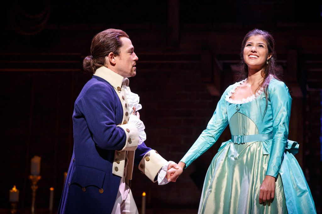 Miguel Cervantes and Ari Asfar in the Chicago production of Hamilton in 2016. The casting for the Dallas version, coming in April 2019, has not been announced. (Joan Marcus)