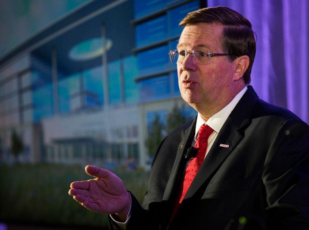 Jim Lentz, CEO of Toyota Motor North America, speaks during a press conference at the future site of Toyota world headquarters on Thursday, October 13, 2016 in Plano, Texas. (Ashley Landis/The Dallas Morning News)