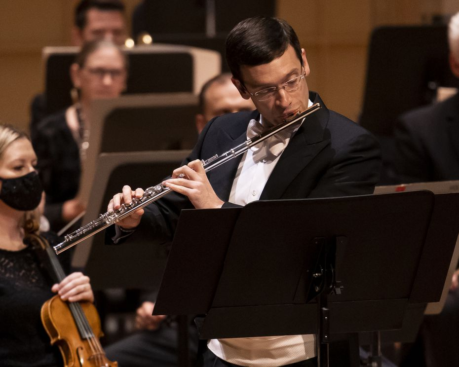 Dallas Symphony Orchestra principal flutist David Buck performs Joan Tower's Flute Concerto on Sept. 23 at the Meyerson Symphony Center in Dallas.