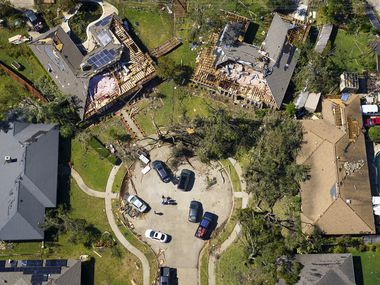Damaged homes in a cul-de-sac on Stillmeadow Drive in Richardson are seen in aerial view of tornado damage on Monday, Oct. 21, 2019, in Richardson, Texas.