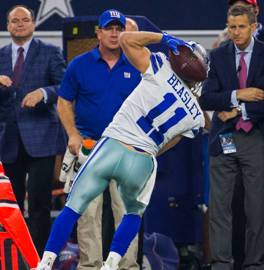 Dallas Cowboys wide receiver Cole Beasley (11) catches a pass behind his head during the fourth quarter of an NFL game between the Dallas Cowboys and the New York Giants on Sunday, September 10, 2017 at AT&T Stadium in Arlington, Texas. (Ashley Landis/The Dallas Morning News)