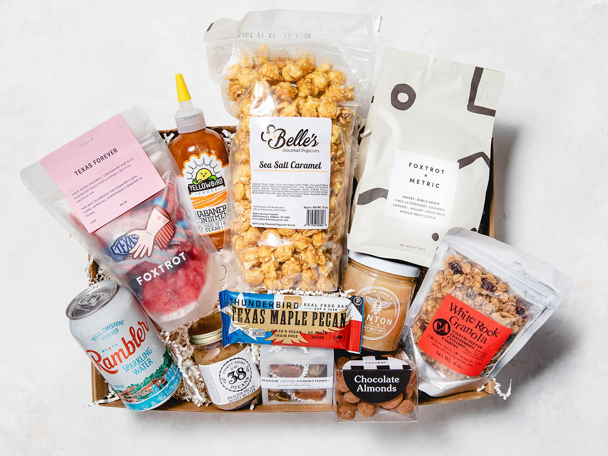 Foxtrot Market is selling various gift boxes this holiday season, including the Texas Large Foodie box.