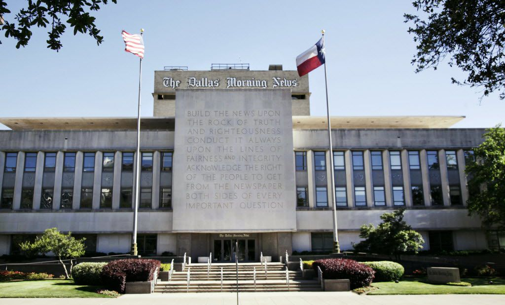 The large inscription in front of The Dallas Morning News is one of the most recognizable landmarks in downtown Dallas. (David Woo/Staff Photographer)