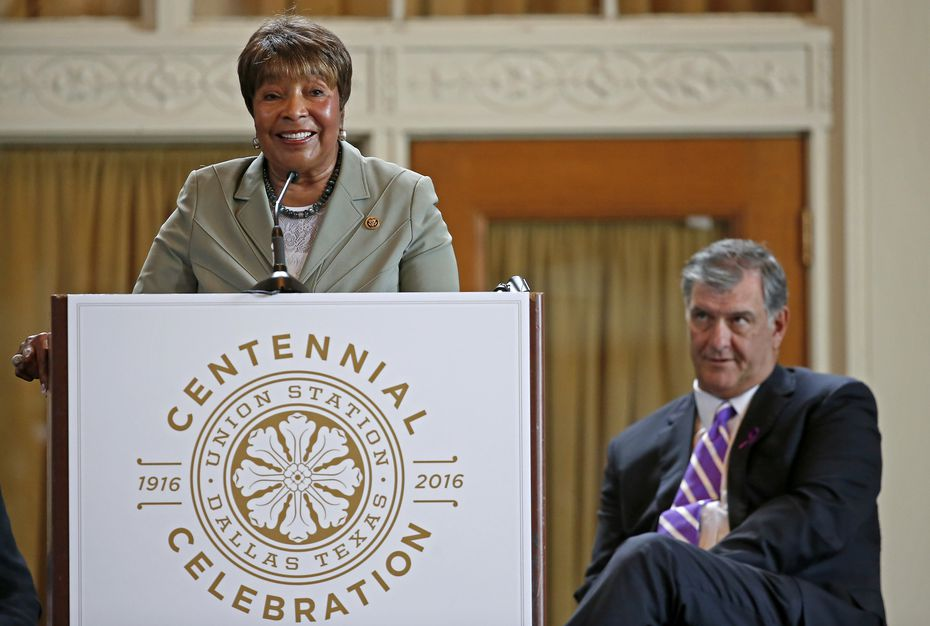 Congresswoman Eddie Bernice Johnson (left) speaks next to Mayor Mike Rawlings during the Union Station Centennial Celebration at Union Station's Grand Hall in Dallas, Monday, Oct. 17, 2016. (Jae S. Lee/The Dallas Morning News)