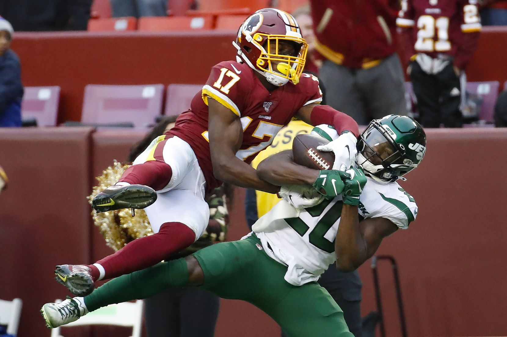FILE - Redskins wide receiver Terry McLaurin (17) beats out Jets free safety Marcus Maye (20) to make the catch during the second half of a game on Sunday, Nov. 17, 2019, in Landover, Md. (AP Photo/Alex Brandon)