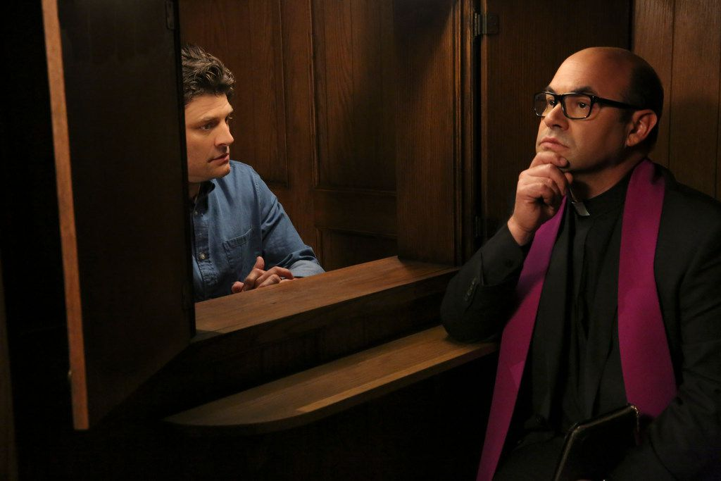 """Jay R. Ferguson as Chip and Ian Gomez as Father Gene in """"Living Biblically."""""""