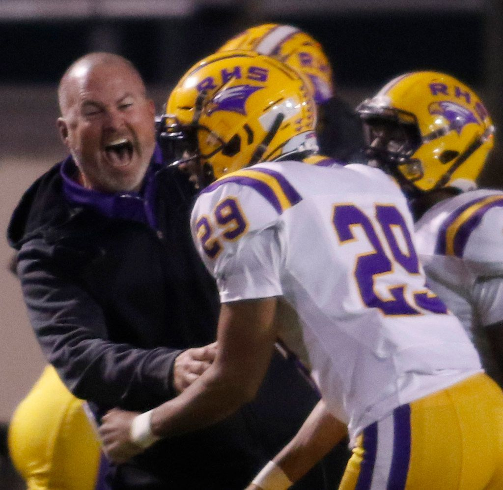 Richardson assistant head coach Brandon Rushing was elated on the team sideline after Channing Williams (29) returned an interception for a touchdown during second quarter action against Lake Highlands. The two teams played their District 8-6A football game at Wildcat-Ram Stadium on the campus of Lake Highlands High School in Dallas on November 8, 2019. (Steve Hamm/ Special Contributor)