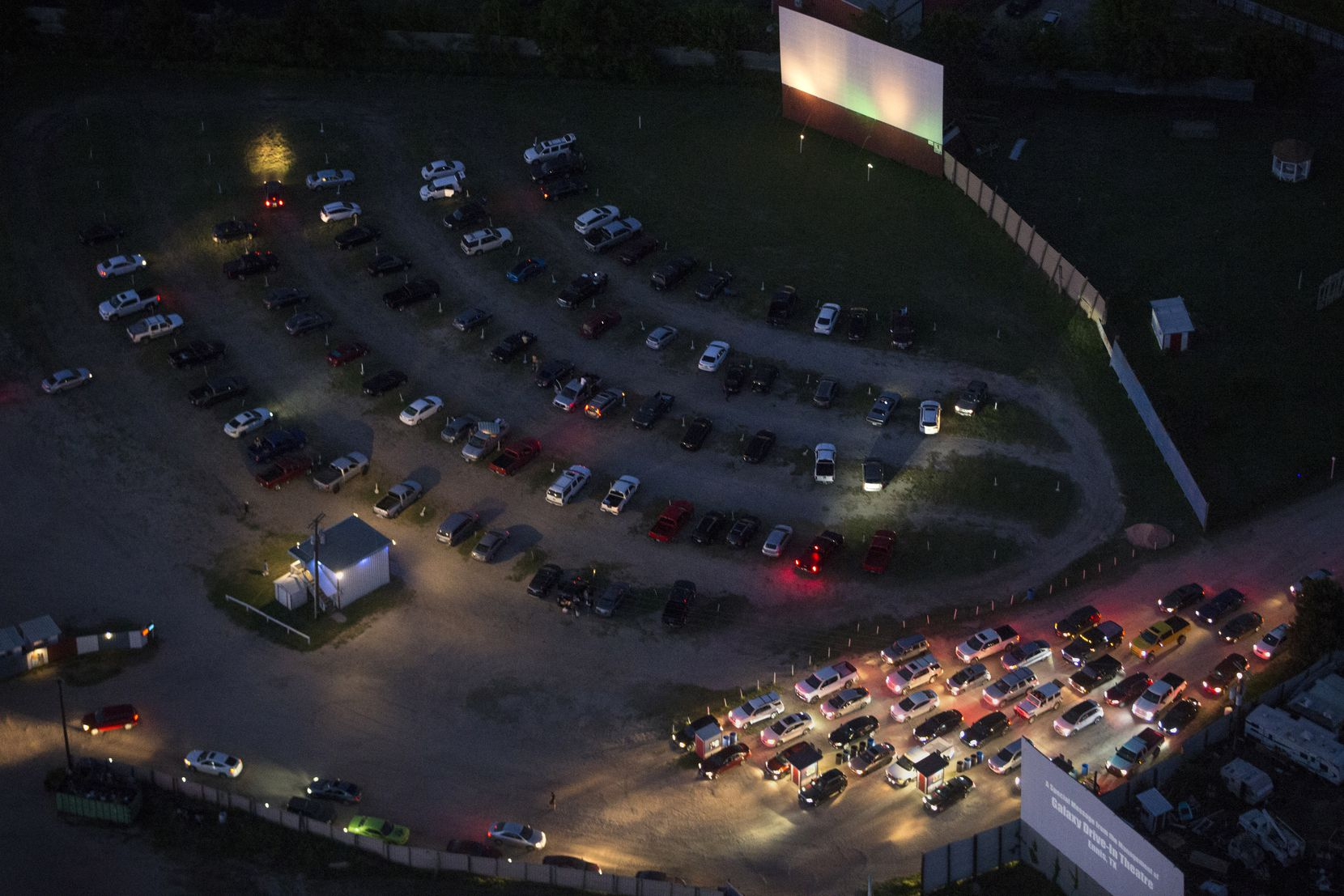 Cars fill Galaxy Drive-In Movie Theatre is seen on Saturday, May 2, 2020 in Ennis, Texas. (Ryan Michalesko/Staff Photographer)