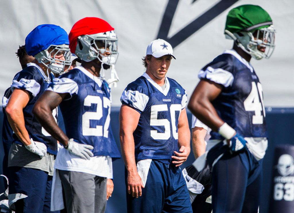 Dallas Cowboys outside linebacker Sean Lee (50) watches during an afternoon practice at training camp in Oxnard, California on Sunday, July 28, 2019. (Ashley Landis/The Dallas Morning News)