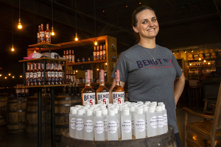 Founder and owner Natasha DeHart posed for a photo at Bendt Distilling Co. in Lewisville. (Lynda M. Gonzalez/Staff Photographer)