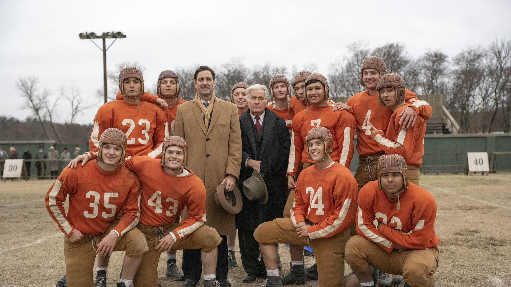 "A photo from the new movie ""12 Mighty Orphans."" Left to Right: (Back): Preston Porter, Woodrow Luttrell, Sampley Barinaga, Jacob Lofland (Middle): Levi Dylan, Luke Wilson, Martin Sheen, Manuel Tapia, Austin Shook, Michael Gohlke (Front): Slade Monroe, Jake Austin Walker, Bailey Roberts, Tyler Silva Photo by Laura Wilson."