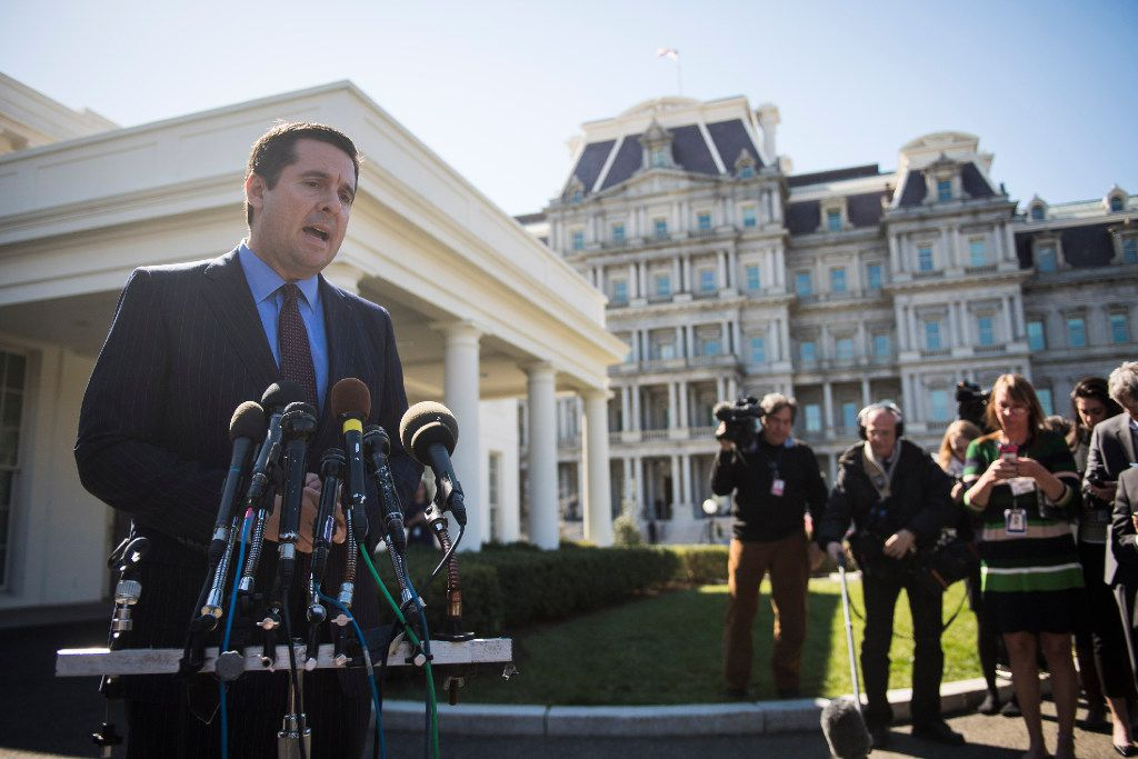 Rep. Devin Nunes, R-Calif., seen speaking with reporters outside the West Wing of the White House, has emerged as one of President Donald Trump's most tenacious allies on Capitol Hill. MUST CREDIT: Washington Post photo by Jabin Botsford