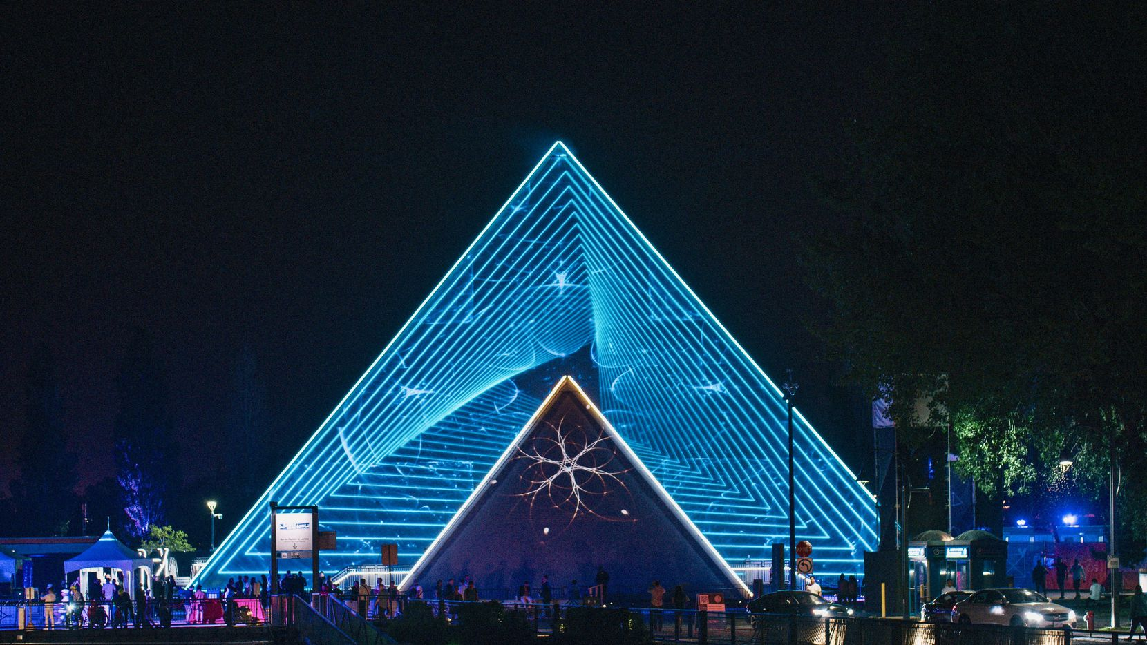 PY1, a touring attraction featuring an 81-foot-tall pyramid-shaped entertainment venue that can hold up to 1,000 people, is coming to Arlington on Dec. 31. The venue is shown during a previous tour stop.