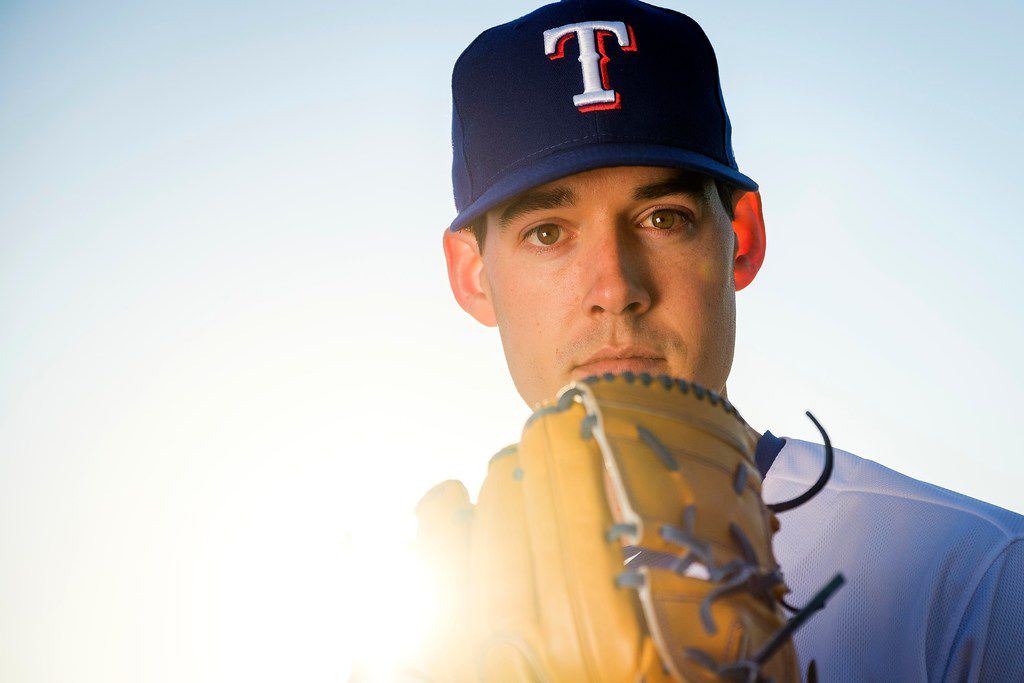 Texas Rangers pitcher Luke Farrell poses for a photograph during spring training photo day at the team's training facility on Wednesday, Feb. 20, 2019, in Surprise, Ariz..