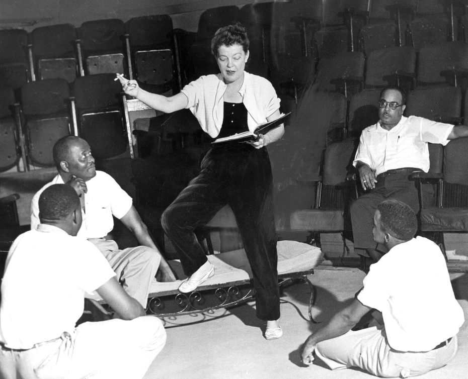 1953: Margo Jones and some of the Round-Up Theater cast, including Jack Dixon, Don Wilson and George Allen, then the president of Roundup, and Earnest Wallace.