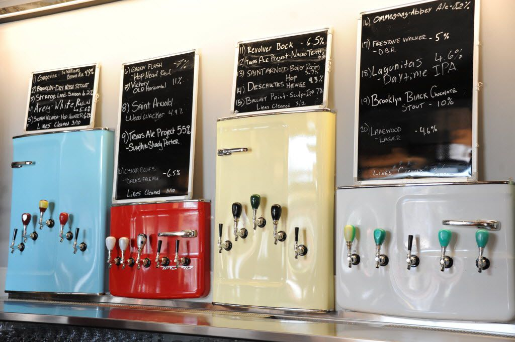 Beer taps made from vintage refrigerator doors line the wall at Braindead Brewing.