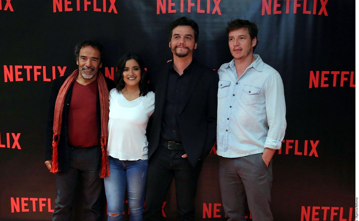 (Se izq. a der.) Damián Alcázar, Paulina Gaitán, Wagner Mora y Pedro Pascal son parte de la segunda temporada de 'Narcos', que estrena el 2 de septiembre./AGENCIA REFORMA