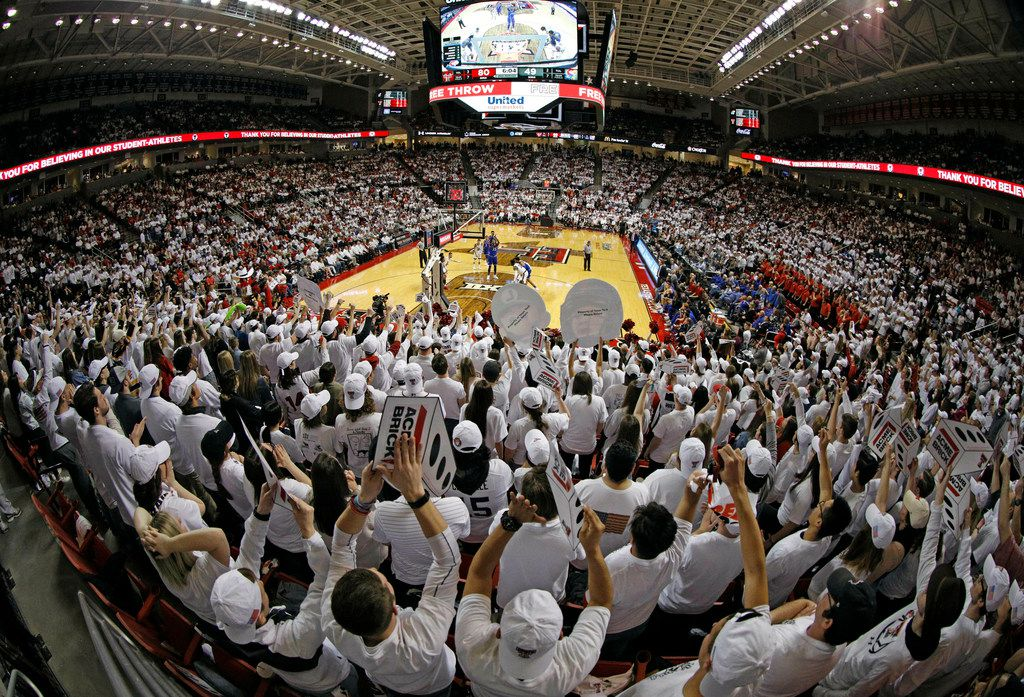 Texas Tech fans yell as Kansas' David McCormack shoots a free throw during the second half of an NCAA college basketball game Saturday, Feb. 23, 2019, in Lubbock, Texas. (AP Photo/Brad Tollefson)