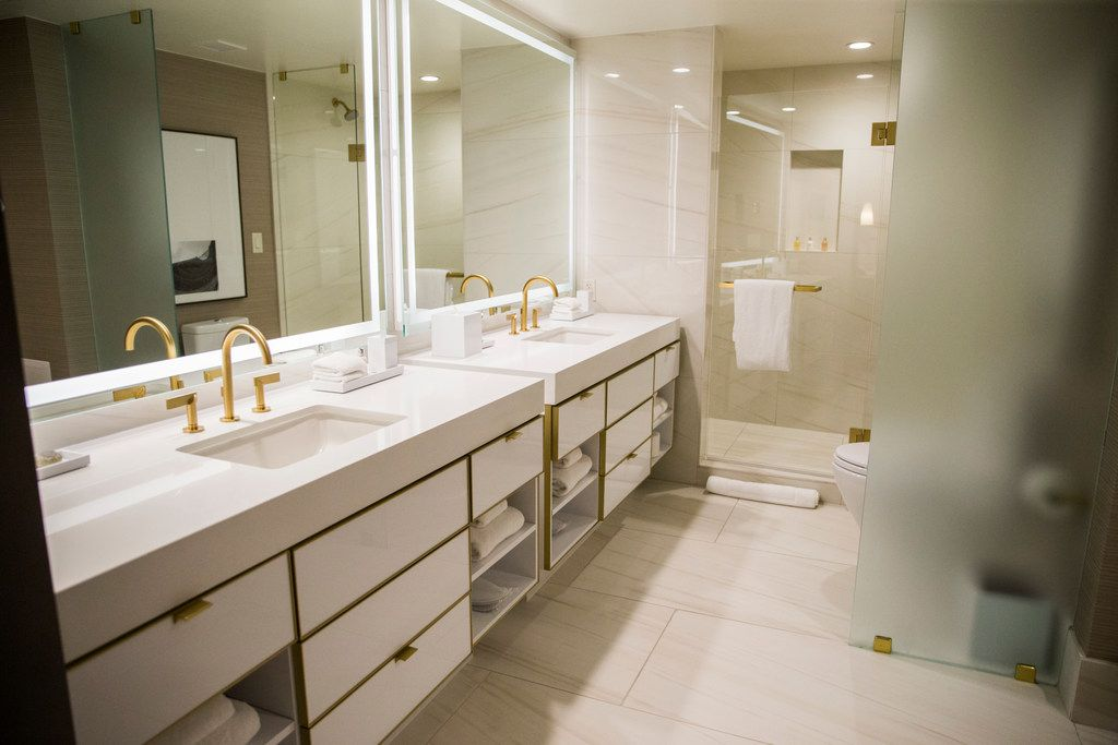 The bathroom in a Crescent Suite at Hotel Crescent Court in Dallas on Monday, June 18, 2018. The hotel was recently renovated. (Ashley Landis/The Dallas Morning News)