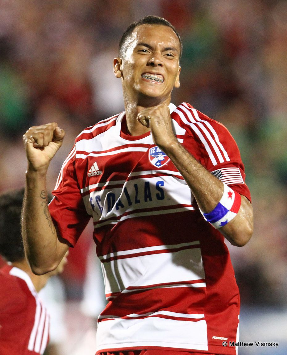 17 March 2012 - FC Dallas forward Blas Perez (#9) celebrates his goal during the first half of the MLS game between FC Dallas and the Portland Timbers at FC Dallas Stadium in Frisco, Texas.  The final score was 1-1.