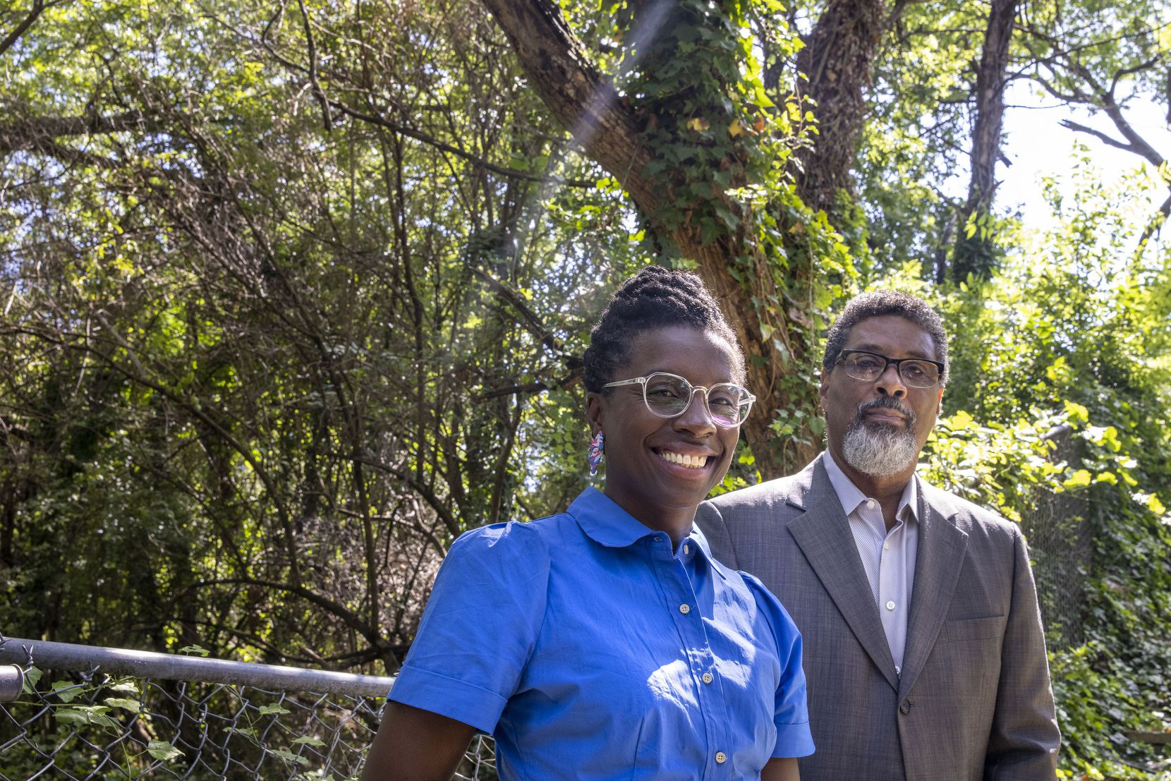 Oak Cliff residents April Allen, president of the Southern Gateway Public Green Foundation,  and foundation board member Lester Houston, who is also president of the Zoo Creek Park Neighborhood Association, at Lester's home.