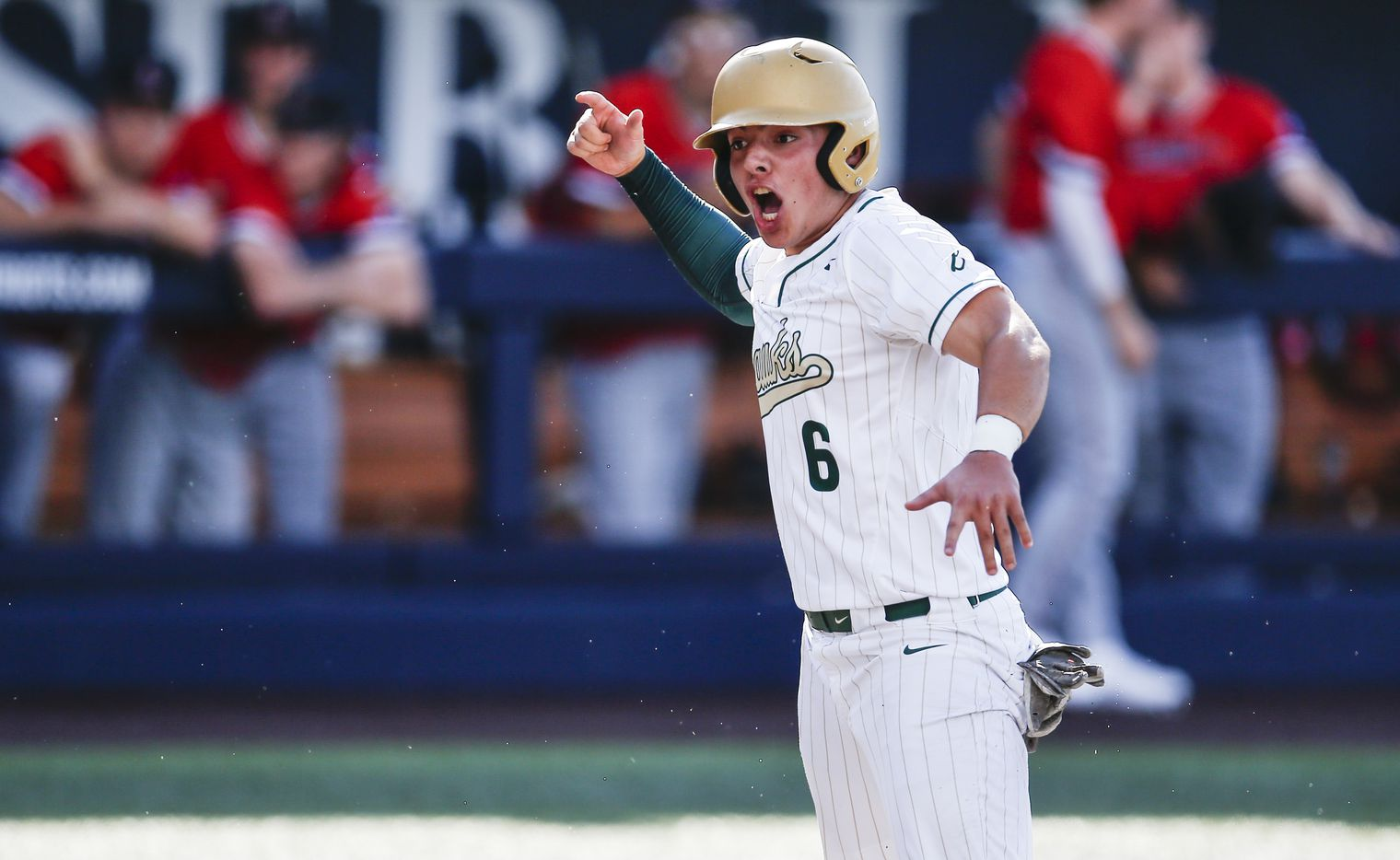 Birdville's Bynum Martinez (6) celebrates scoring a run during the second inning of a high school Class 5A Region I quarterfinal series baseball game against Mansfield Legacy at Dallas Baptist University, Thursday, May 20, 2021. (Brandon Wade/Special Contributor)