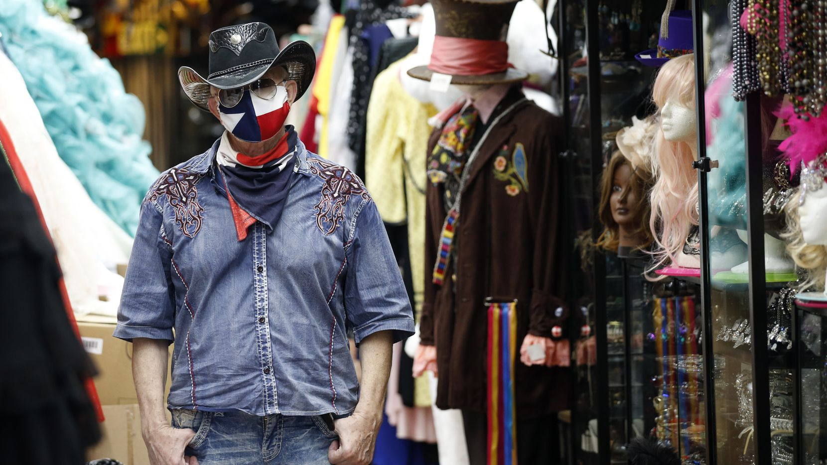 Jerry Purvis, owner of Dallas Vintage Shop in Plano, Texas, said his shop is in danger of going out of business as all the events that require costumes, gowns and hats are canceled due to COVID-19. The store pivoted to making fashionable masks but made just $15.14 on Monday.