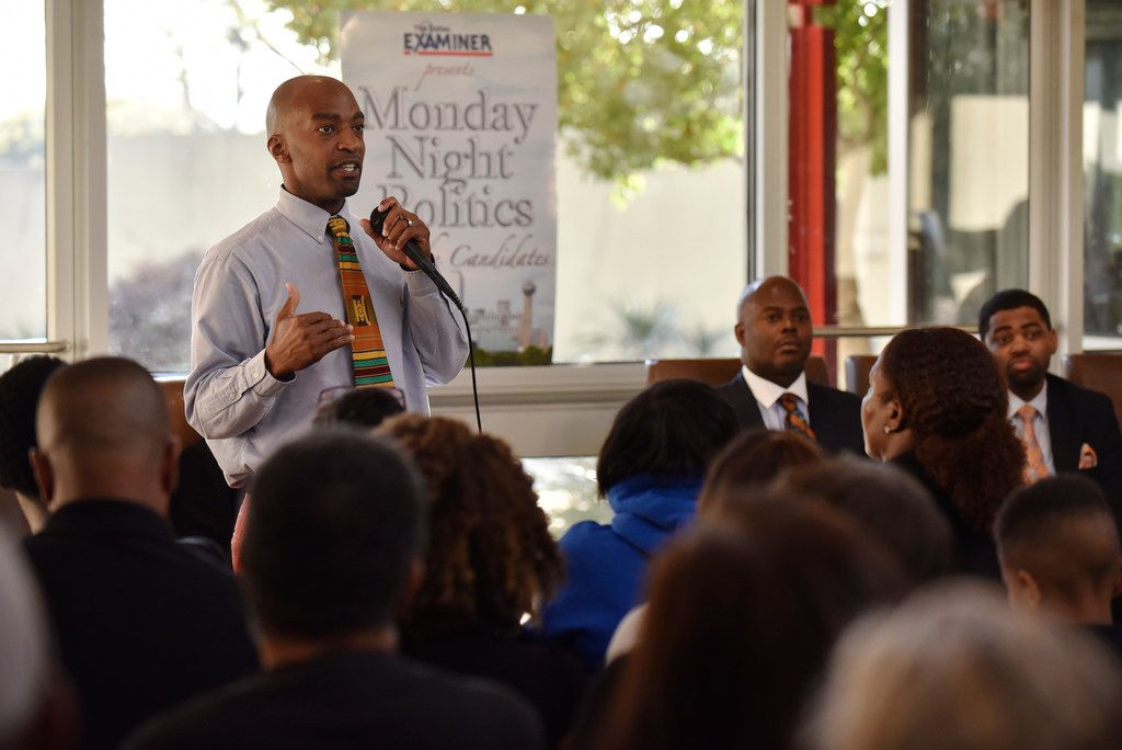 Candidate Korey Mack for city council district 7 speaks during Monday Night Politics with the candidates, presented by The Dallas Examiner, Monday March 25, 2019 at the African American Museum at Fair Park in Dallas. Ben Torres/Special Contributor