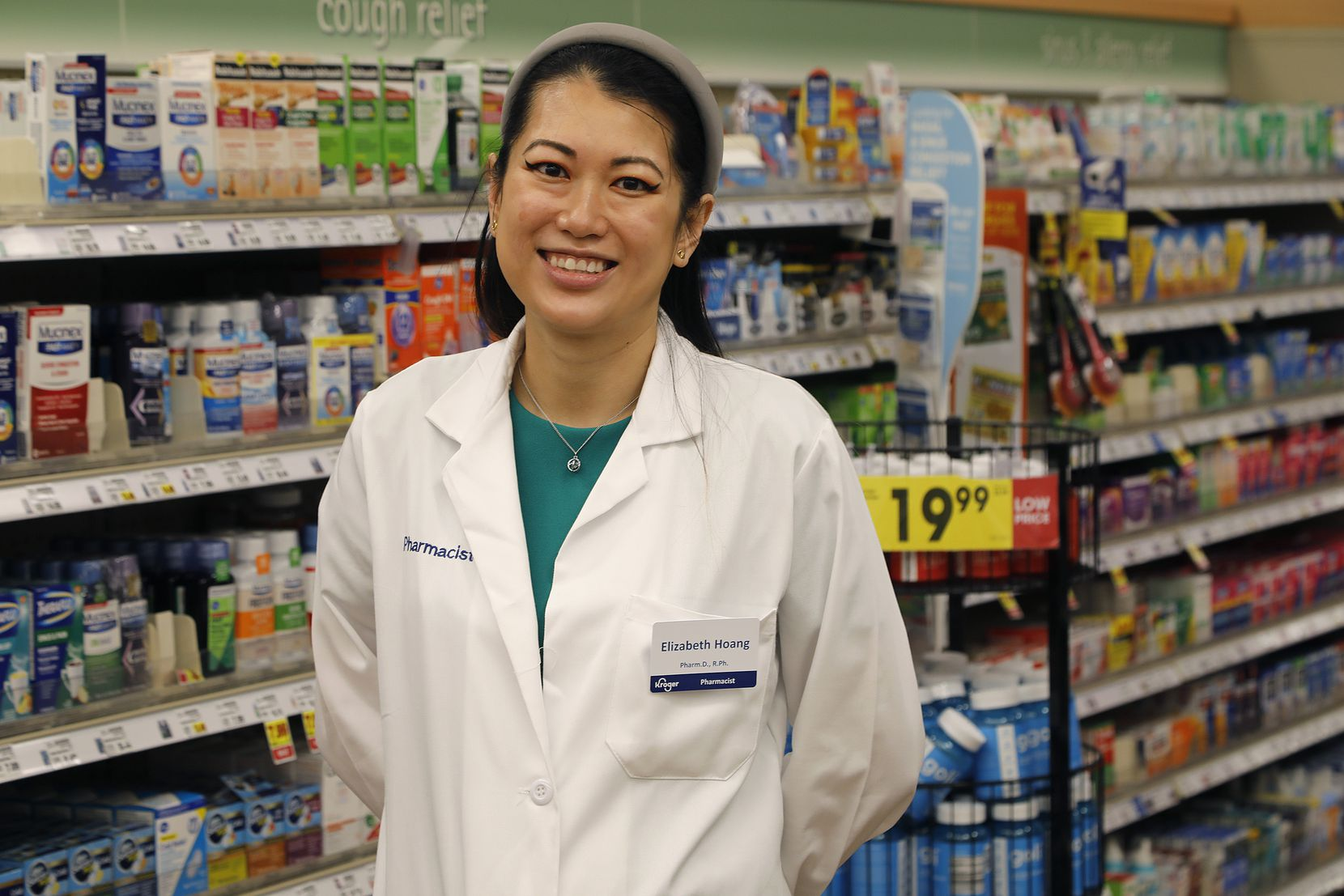 Elizabeth Hoang is a pharmacist at the Kroger Pharmacy in Flower Mound on Saturday, July 8, 2021, and she helped run the Fair Park vaccine clinic for Dallas County. (Stewart F. House/Special Contributor)